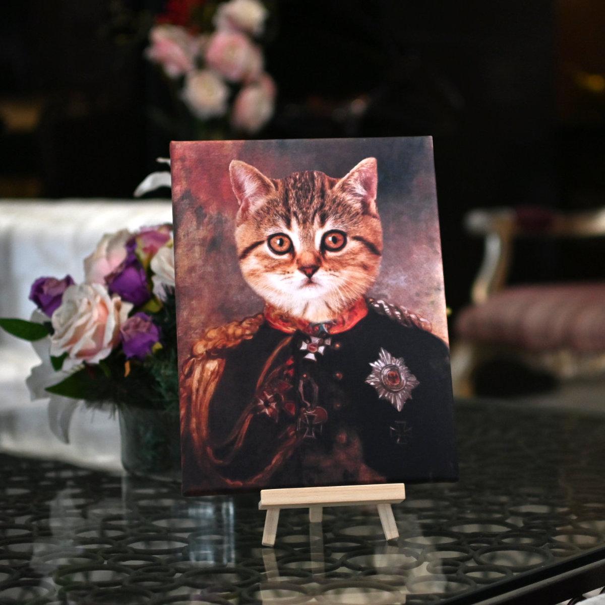 Royal Pet Portrait Canvas Print of your Pet Dog and Cat
