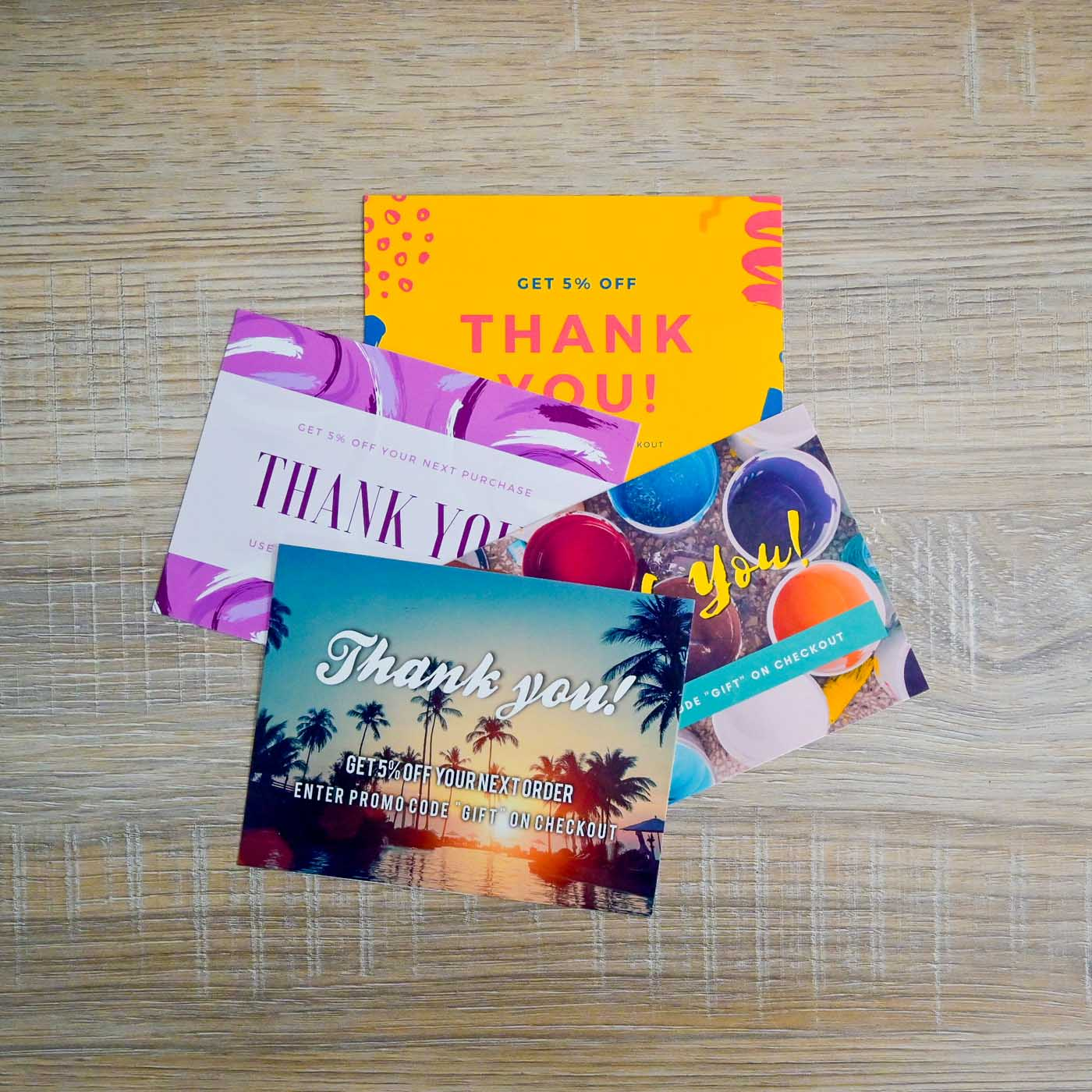 Package Inserts - Glossy Postcard Thank You Card with Logo