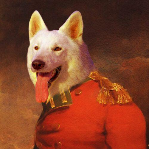 White German Shepherd Royal Portrait