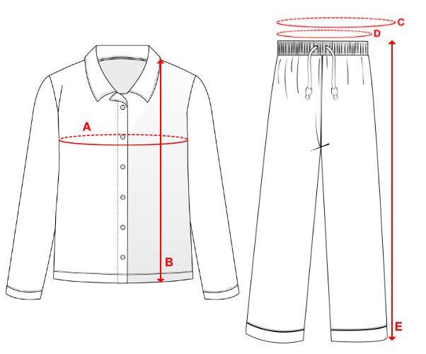 Women's Pajamas - Size Chart